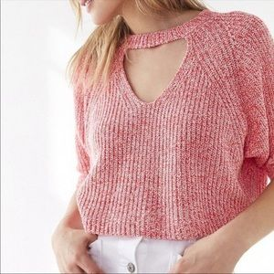 SILENCE + NOISE Cropped Cutout Sweater Top